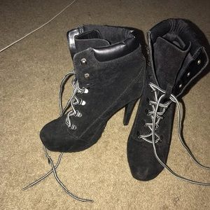 Rue 21 Black Suede Lace Up Heeled Boots